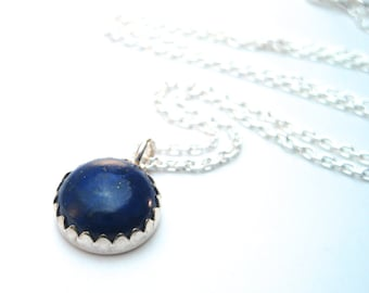 Blue Lapis Necklace, Blue Gemstone Pendant with Silver Chain, Gift for Her