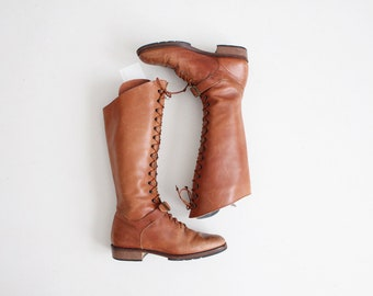 tall lace up riding boots | brown leather boots 8.5 | lace up tall boots 9