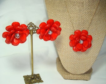 1970's Large Red Flowered Earrings and Necklace Set with Rhinestone Centers.