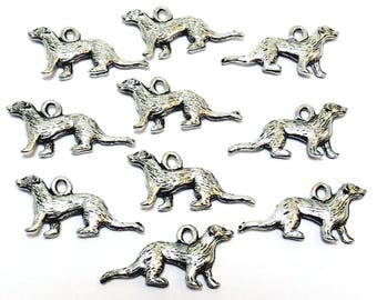 Ten (10) Pewter Ferret Charms - Free Shipping to US - (0305)