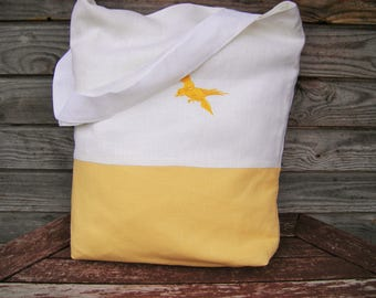 Yellow  and White Linen Embroidered tote bag Totes Canvas tote bag Shopping bag Beach bag Handmade bag, Embroidered purse, Bags and purses