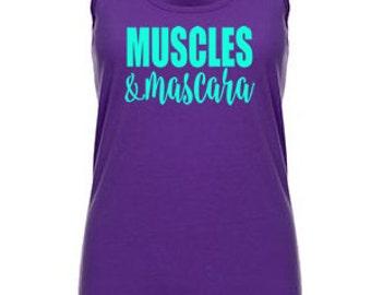 Muscles & Mascara Womens Workout Tank Top, Gym Shirt, Burnout Tank Top, Yoga Top, Running Tank Top, workout shirt, Workout Clothes for Women