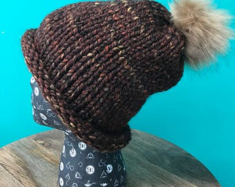 Brown Slouchy Roll Brim Hat with Brown Faux Fur Pom Pom