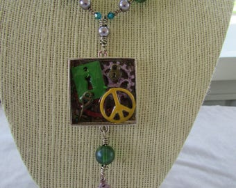 Peace Resin Beaded Necklace