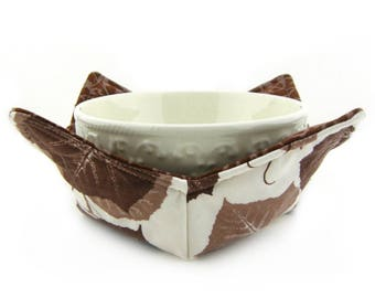 Bowl Holders for Microwave, Bowl Cozy, Microwave Bowl Cozy, Microwave Cozy, Bowl Holder, Cold, Reversible, Brown, Leaves, Earth Tones, Leaf