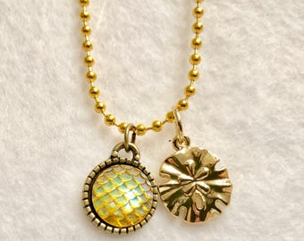 Girly Sand Dollar Charm Necklace