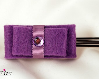 Simple & Elegant Purple Felt Ribbon Bows Hair Pin