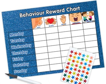 Re-usable Behaviour Reward Chart (including FREE Stickers and Pen) - Blue Glitter Design