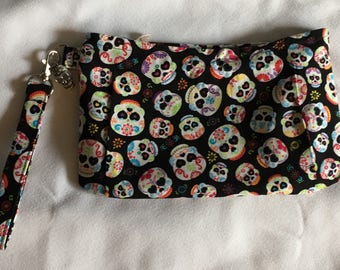 Charmed Multi Colored Sugar Skull Wristlet Clutch