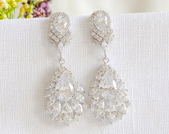 Chandelier wedding earrings swarovski crystal bridal earrings crystal bridal earrings chandelier wedding earrings dangle drop earrings leaf cz earrings mozeypictures Image collections