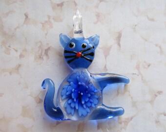 Lampwork Glass Blue Cat Pendant