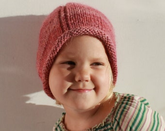 Hand knit childrens beanie hat in alpaca/merino mix