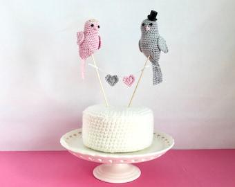 Crochet Wedding Cake Topper -  Crochet birds - Bird cake topper - Lovebirds Cake topper - Made to order wedding cake topper
