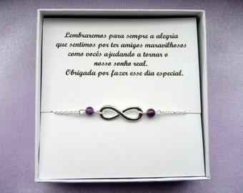 4 bracelets Your own message, Friendship gifts, Silver infinity amethyst bracelets, Bridesmaids gifts, Infinity jewelry