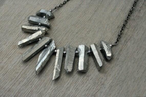 Quartz, Hematite and Gunmetal Statement Necklace // Bridesmaid // Gifts for Her // Stocking Stuffer