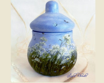 DISHWASHER SAFE -  Hand Painted Jar with Lid, OOAK - Queen Ann's Lace, Bees & Butterflies