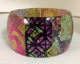 Thin Curved Resin Patchwork Bracelet