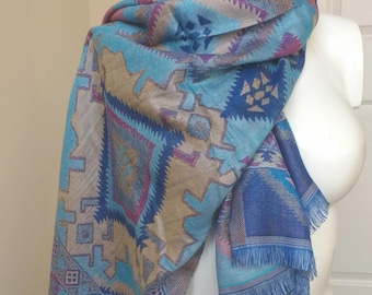 Royal Sky Blue Boho Diamond Art Silk Shawl