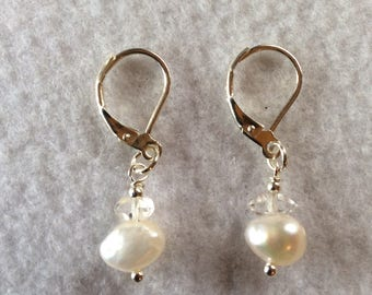 Pearl and Herkimer diamond earrings, Sterling silver