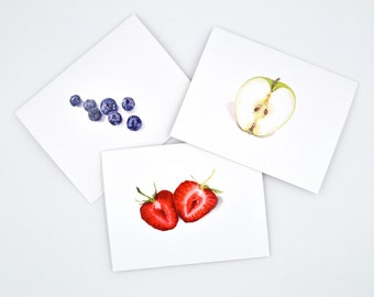 Blank Notecards / Fruit Notecards / Blank Note Card Set / Fruit Illustration / Watercolor Notecard Set/ Watercolor Fruit / Food Illustration