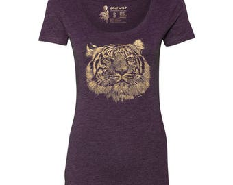 Tiger Tri-blend Scoop Neck T-Shirt, 10% donated to animal causes