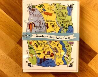 Napa Valley Map Boxed Card Set