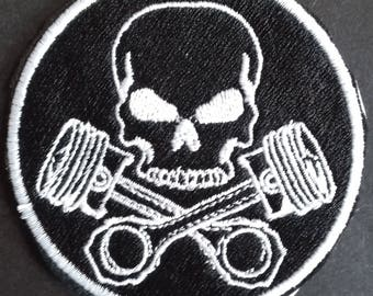 Skull and Crossed Pistons Iron on / Sew on Embroidered Biker Patch