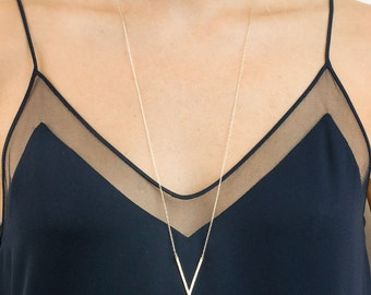 Badass Long V Necklace, Pointed Long Necklace, Triangle, Angled Bar Necklace / THE WALSH, LN145_c2