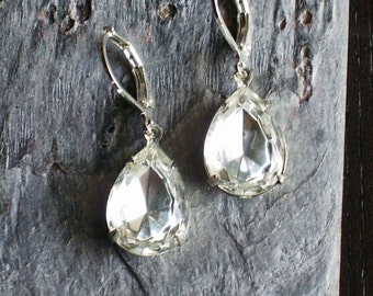 Crystal bridal earrings, teardrop jewel earrings, wedding earrings, estate style earrings, holiday gift ideas, gift ideas for mom