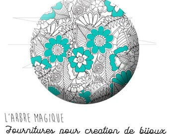 2 cabochons to glue flower drawing turquoise grey ref 1596 - 16 mm-