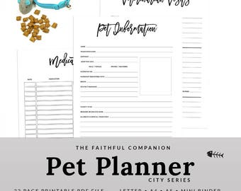 Cat Organizer Pet Planner Printable Catsitter | PPET-1200-A, Instant Download