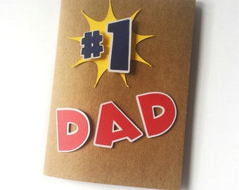 Fathers Day Card - Number One Dad - #1 - Handmade - Pop Out - 3D - Cardstock