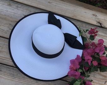 Floppy hat, Beach hat, Black floppy hat, bow floppy hat