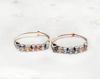 Rose Gold Brass Beaded Hoop Earrings Faceted Colored Glass Bead Hoop Earrings Handmade Jewelry Gift for Her Free Shipping from Israel
