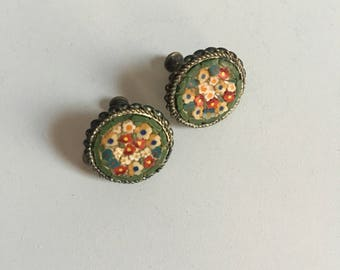 Antique Victorian Style Mosaic Earrings Floral Screw Backs