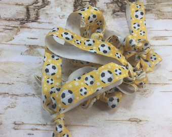 10 hair tie Yellow soccer balls FOE 5/8 inch fold over elastic coach wedding baby shower birthday team gift banquet white black party favor