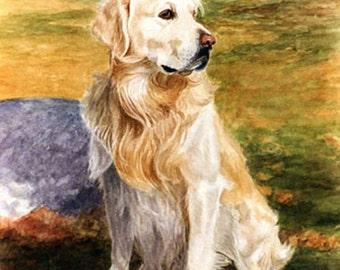 Golden Retriever Art, Golden Retriever Print, Golden Retriever Dog Print, Golden Retriever Watercolor, Dog Print, Dog Art by P. Tarlow