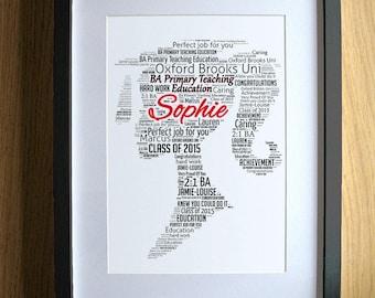 Personalized Graduation Gifts for Girls Word Art - Girl - Degree Gift Graduate Congratulations Keepsake