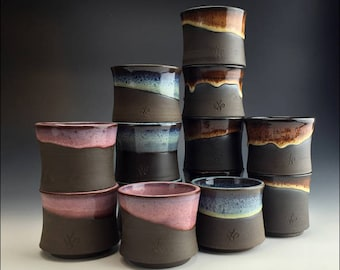 Mix & Match SIGNATURE CUPS tumblers | stackable, engraved icon, in ombre blue freckled lavender and tiger eye