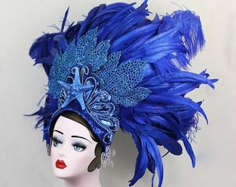 Feather Showgirl Headdress, Mermaid Costume, Las Vegas Showgirl, Dance Costume, Burlesque Headpiece, Halloween Costume, Royal Blue, Starfish