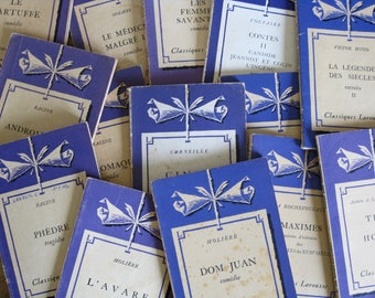 French purple books Classiques Larousse decorative softback books