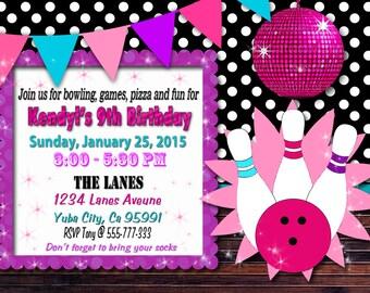 Bowling Invitation / Bowling birthday party