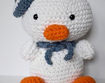 Crochet Duck / Stuffed Duck / Sailor Duck / Amigurumi Duck / Duck Nursery / Lil Quack the Duck / Farm Nursery / Salior Duck Gift / Baby Gift