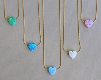 Opal Heart Colored Necklace
