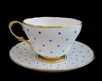SHELLEY CUP & SAUCER Blue Polka Dots Lot of Gold Gilt Gentle Scalloped Rims Bone China