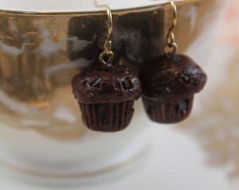 Double Chocolate Chip Muffin Earrings/ Polymer clay baked goods/ Breakfast food jewelry