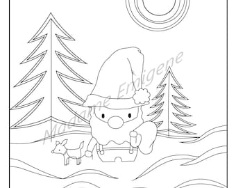 Santa and Rudolph Coloring Page- PDF Instant Download