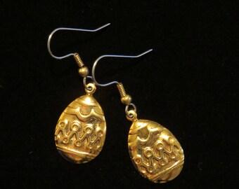 Easter Egg Earrings 24 Karat Gold Plate or Oxidized Matte Silver Holiday Spring EG326 / ES303