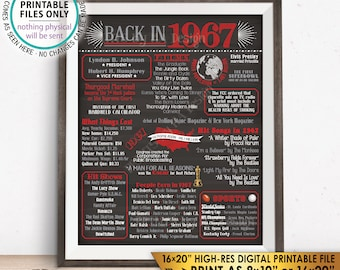 """1967 Flashback Poster, Flashback to 1967 USA History Back in 1967, Anniversary Birthday Reunion, Chalkboard Style PRINTABLE 16x20"""" Sign <ID>"""