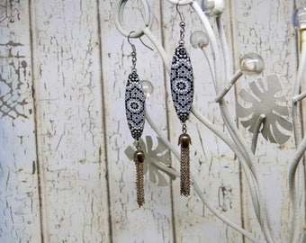 Earrings, long, tassels, black and silver, mosaic, for her, Earrings, long, pompoms, black and silver, mosaic, for her